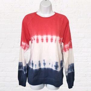 Sonoma Tie Dye Red White and Blue Sweatshirt